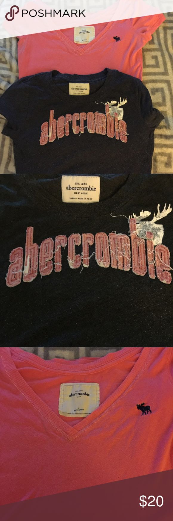 Abercrombie Girls tshirt Both are small , short sleeve- tags both day large but the gray one is smaller and the pink one seems larger/ maybe xlarge. abercrombie kids Shirts & Tops Tees - Short Sleeve