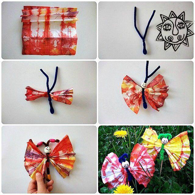 Tvoříme s dětmi - motýlek ze skládaného papíru a chlupatého drátku. jak vyrobit zápich do květináče.