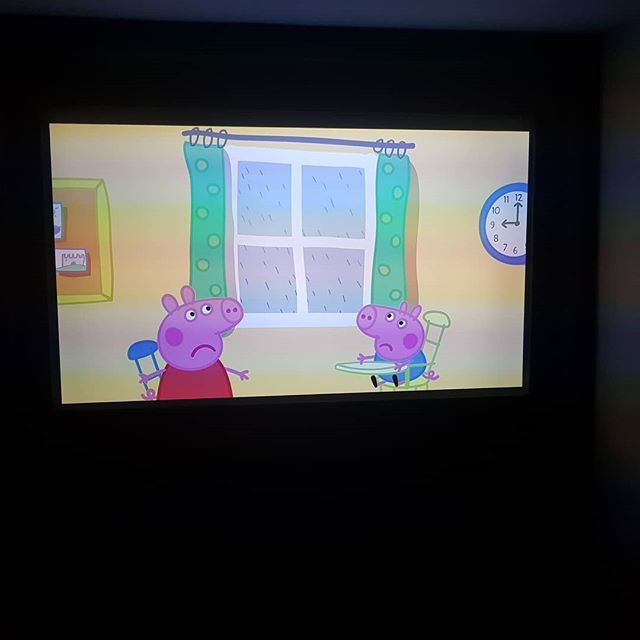 4k projector Dolby Atmos....and she wants to watch Peppa bloody pig in sd  #family #toddler #daughter #4k #peppapig #homecinema #hometheatre #funny #fun #peppapig #peppa #pig #cartoon #insta #instagood