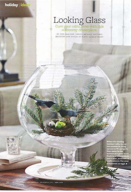 The Looking Glass centerpiece vase is so easy to make yourself! Use a glass container, any glass container, even a round fish bowl! Place artificial snow ( or salt ) at bottom for the base. Add some greenery from the outdoors with the artificial birds and nest from a craft store or garden shop.