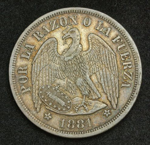 The first Chilean peso was introduced in 1817, at a value of 8 Spanish colonial reales. Description from coinsnumismatics.com. I searched for this on bing.com/images