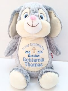 Cubbies Soft Personalised Toy A beautiful gift for any baby or child and a lovely keepsake. Appropriate thread colours will be used for boys or girls. Birth Block Design Name (up to 3), Weight, Date, Time Christening / Baptism Design Name (up to 3), Date Short Message of Y