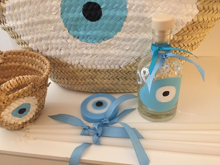 baby blue evileye baptism set by Cotton Prince www.cottonprince.gr