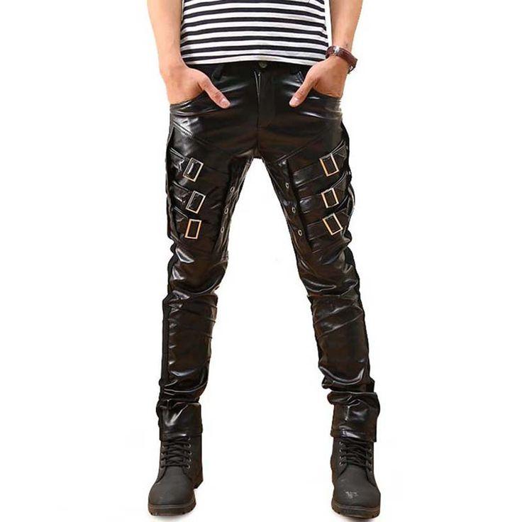 New Arrival Mens Gothic Punk Fashion Faux Leather Pants PU Buckles Hip Hop Applique