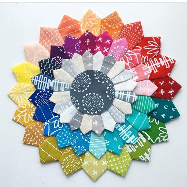How cool is this #blueberryparkfabric Dresden Plate by @jeliquilts. Did we mention that it is back in stock!  Link in profile.  #southernfabric #quilting by southernfabric