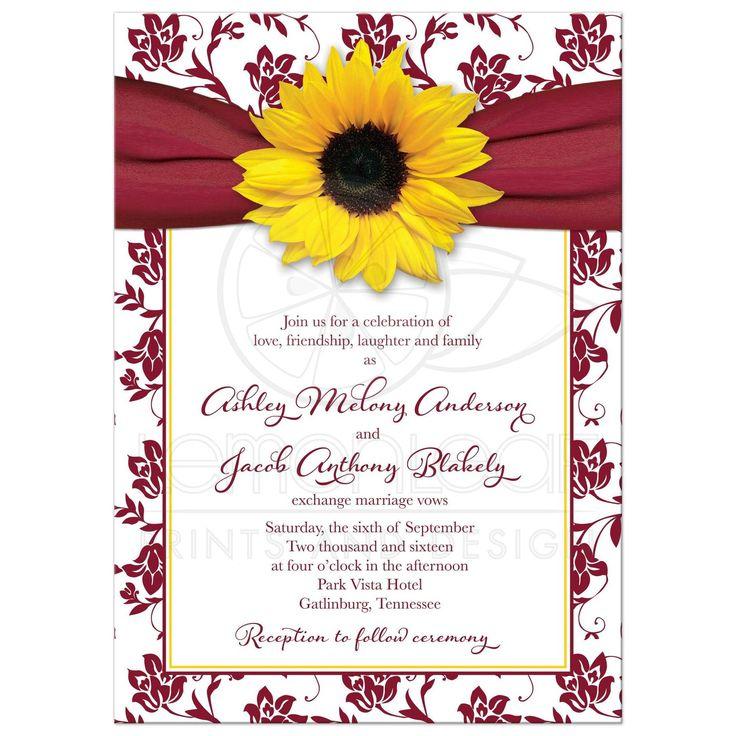 Sunflower burgundy ribbon damask floral fall wedding invitation