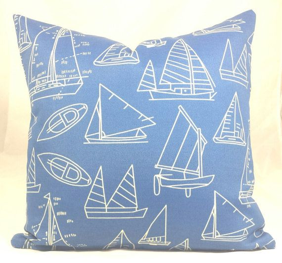Indoor/Outdoor Blue Nautical Cushion Cover. Fits A 18