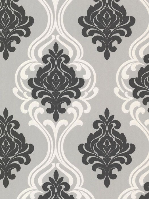 Wallpaper Pattern Indiana Black Damask Available From Steves Collection