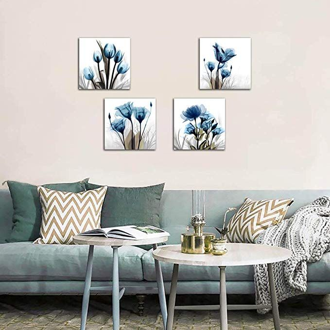 Amazon Com Flower Canvas Prints Wall Art Decor 4 Panels Blue Elegant Tulip Artwork Simple Life Picture F Home Decor Living Room Pictures Homedecor Living Room