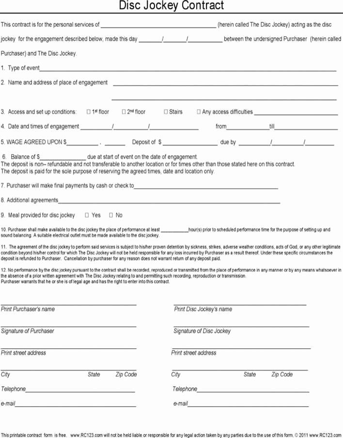 Disc Jockey Contracts Template New Disc Jockey Contract Form In