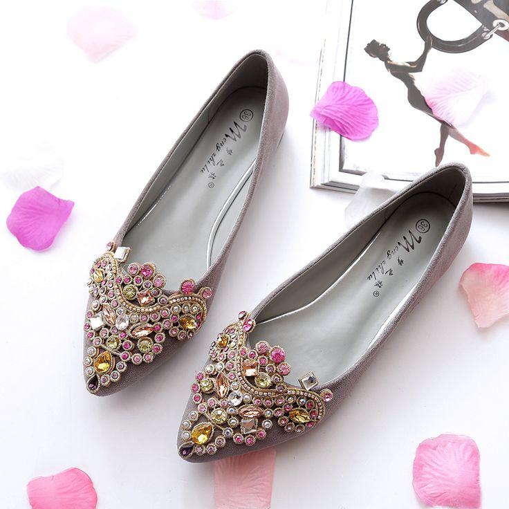 2016 de Lujo Zapatos de Las Mujeres Zapatos de Las Señoras Pisos Punta  estrecha Solid Rhinestones Planos de La Manera Para Las Mujeres Zapatos de  Gran ...