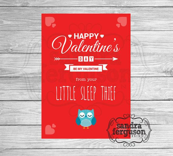 """5x7 Printable """"Happy Valentine's Day from your Little Sleep Thief"""" - Blue 