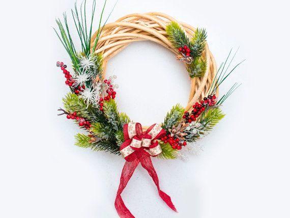 Winter Christmas wreath, Front Door Wreath, Outdoor Wreath