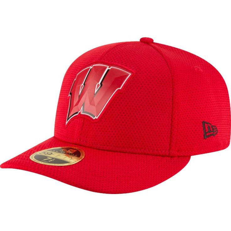 New Era Men's Wisconsin Badgers Red Bevel Team Low Profile 59Fifty Hat, Size: 7 1/8