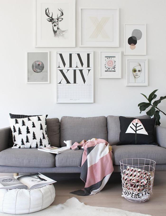 tissu scandinave, sofa gris, textiles colorés à imprimés scandinaves