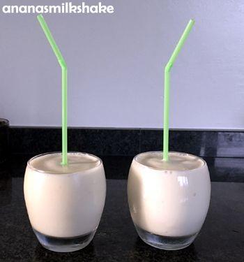 Gezonde en frisse #milkshake van magere #yoghurt en #melk. Met #ananas. #ananasmilkshake