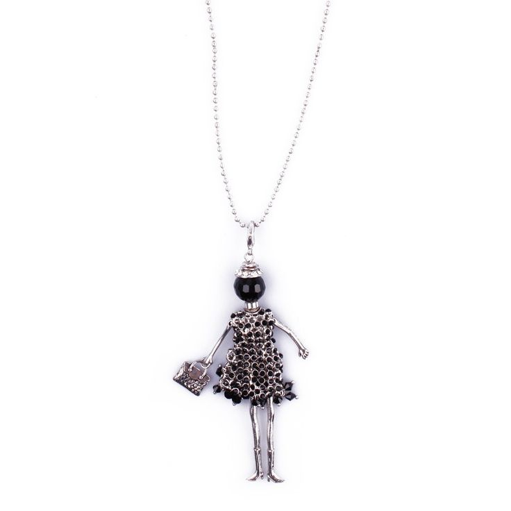 Sautoir Poupée Cabaret argent noire et perles noires
