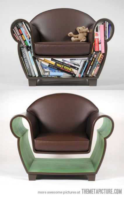 I so want this chair! although I am sure I would have to fight the cats for the underspace..... creative-chair-design-bookcase