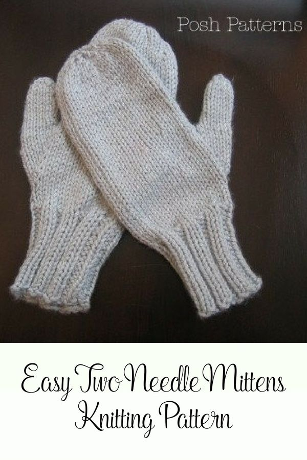 Knitting Patterns Easy Two Needle Mittens Pattern Mittens