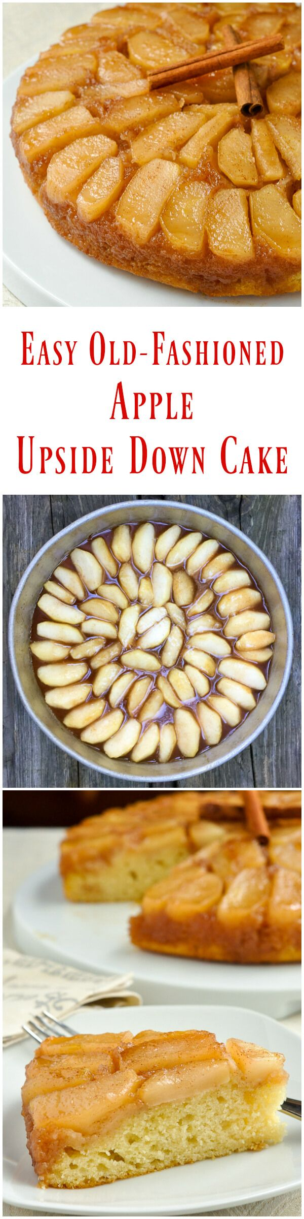 Old Fashioned Apple Upside Down Cake - a decades old family recipe that uses very simple ingredients to create a comfort food dessert that everyone will love; a classic Autumn dessert that's only improved by a big scoop of vanilla ice cream.