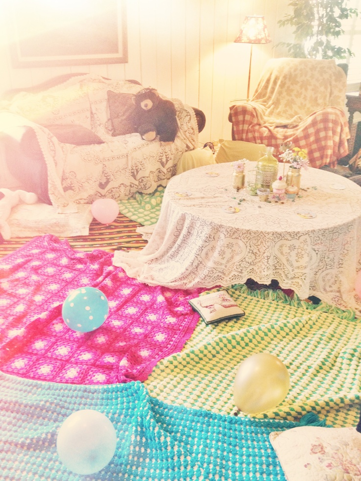 Pj party! My slumber party themed event. Put blankets EVERYWHERE to look like a little girls sleepover :)