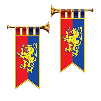 Our Herald Trumpet Cutouts have the look of a gold lion on a red and blue flag which appears to hang from a gold trumpet. Each pacakge contains two 17 inch two sided cutouts.
