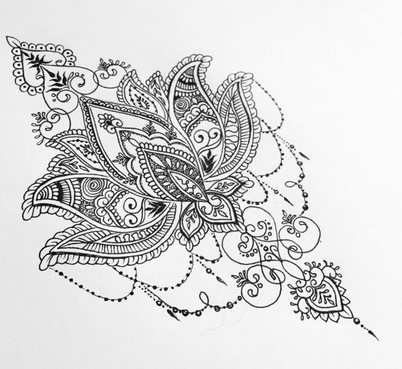 Lotus Flower Zentangled Mandala Tattoo Tattoos Tattoos Mandala