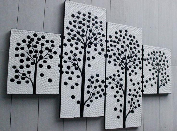 Lukisan Dekoratif Ranting Hitam Putih