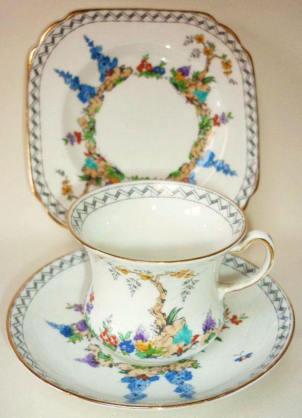 Tuscan Art Deco English Vintage China Tea cup Saucer Teaplate