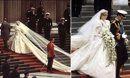 Diana, Princesa de Gales – Julho de 1981 No seu casamento com o príncipe Charles (Príncipe de Gales), Diana Frances, enveredou um dos mais emblemáticos vestidos de noiva. O vestido de noiva da princesa Diana foi feito em tafetá de seda, decorado com renda bordada à mão, lantejoulas e 10.000 pérolas. Foi criado por Elizabeth e David Emanuel, e tinha uma imponente cauda de 7,5 m: o verdadeiro vestido de princesa.