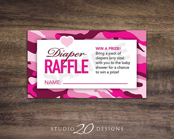 Instant Download, Hot Pink Camo Baby Shower Games, Diaper Raffle Cards for Girl, Camoflauge Printable Party Sheets, Drawing Card #31A on Etsy, $1.50