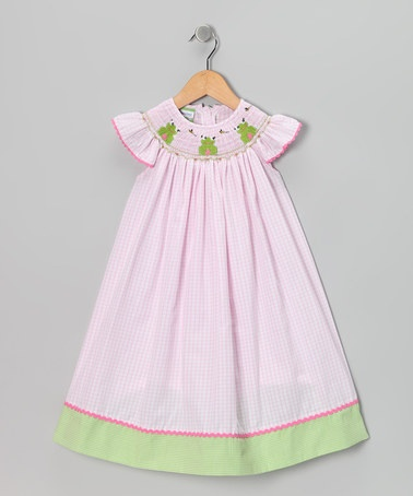 Take a look at this Pink Frog Smocked Angel-Sleeve Dress - Infant, Toddler & Girls by Candyland on @zulily today!