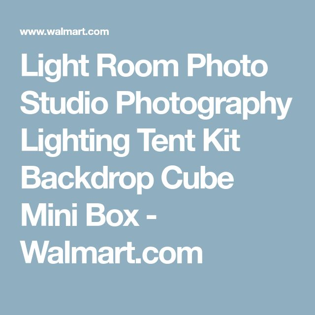 Light Room Photo Studio Photography Lighting Tent Kit Backdrop Cube Mini Box - Walmart.com