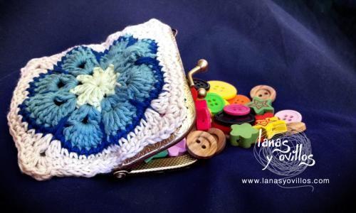 monedero crochet granny cierre metálico patron gratis