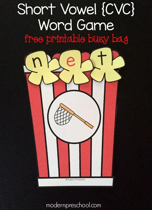 Short Vowel CVC Popcorn Word Game {free printable!} for preschoolers & kindergarteners