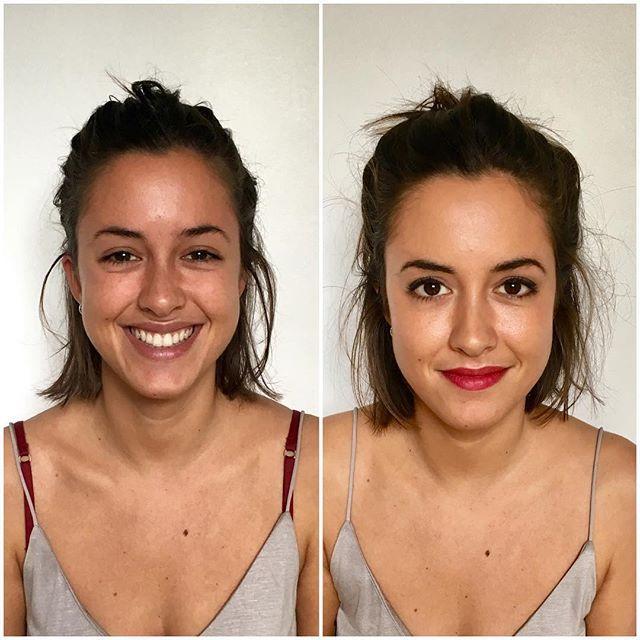 AVANT- APRÈS glamour. Pauline voulait un maquillage de jour glamour mais pas trop marqué. 👏🏻 Pauline