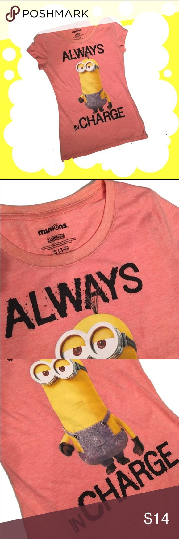 Minions tee Babydoll style. Small 3-5. Illumination Entertainment. 83% polyester 17% cotton. Excellent condition. Tops Tees - Short Sleeve