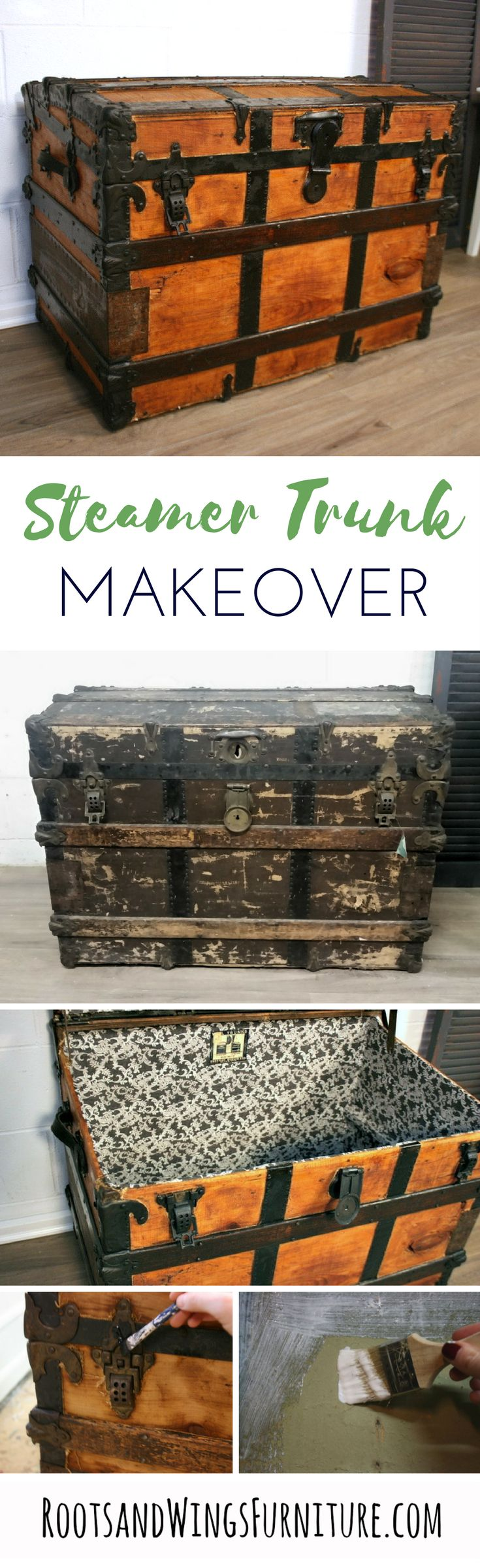 Completely makeover an old steamer trunk inside and out.  Step by step tutorial will show you how.  By Jenni of Roots and Wings Furniture.