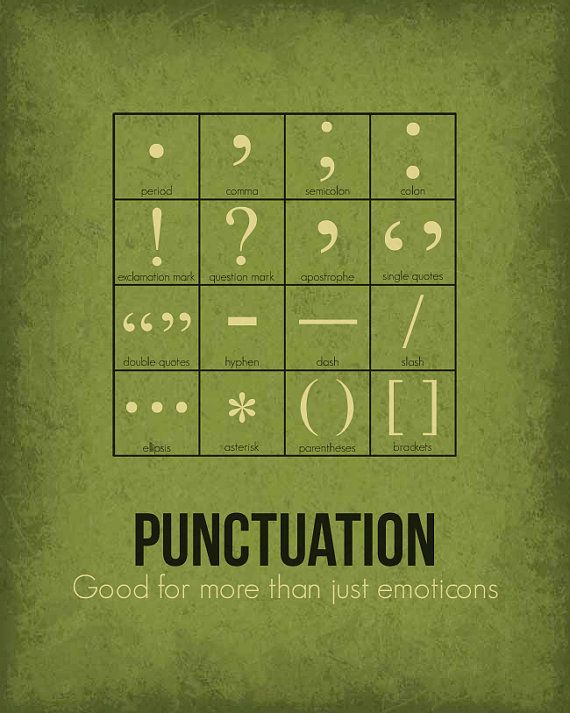 Grammar Poster Punctuation Available as 8x10 by GetYourNerdOn
