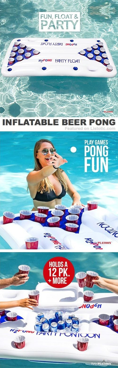 Inflatable beer pong table! The most fun pool accessory you will even have!