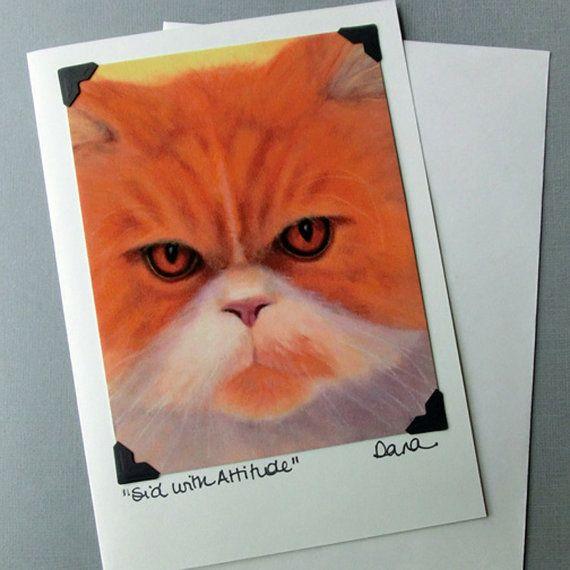 Persian Cat Card - Cat Art Card and Postcard Combination - Shelter Cat - Kitten Art - 10% Benefits Animal Rescue
