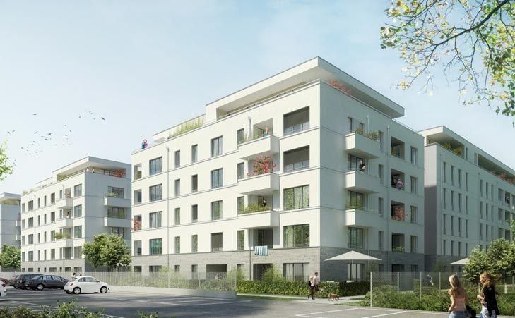 Das L-förmige Mehrfamilienhaus der P.C. Property Company Immobilien GmbH besticht durch eine variantenreiche Konzeption mit durchdachten Grundrissen und nachhaltige Bauweise nach neuestem Standard.