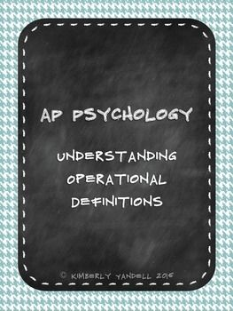 Free Assignment!  AP Psychology Research Methods Operational Definitions