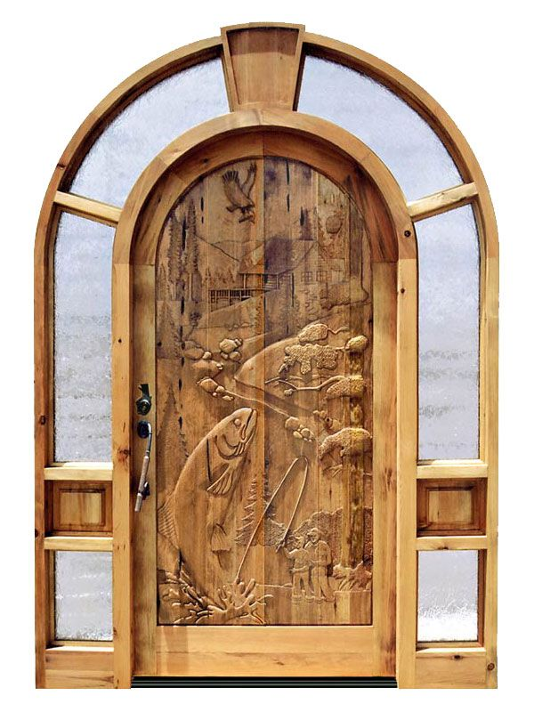 Custom doors carved wood front entry doors fishing for Decorative main door designs