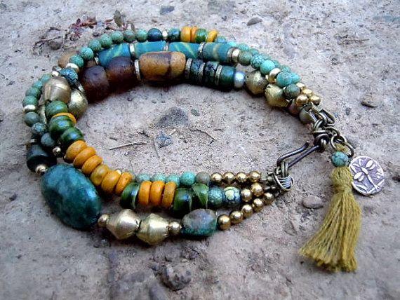 Turquoise / Bohemian Bracelet / Gypsy Jewelry / Ethnic Bracelet / Handmade Trade Beads/ Gypsy Bracelet via Etsy