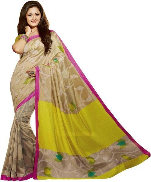 LadyIndia.com # Casual Saris, Bollywood Floral Beige Silk Saree For Women -Sari, Printed Sarees, Casual Saris, Silk Saree, https://ladyindia.com/collections/ethnic-wear/products/bollywood-floral-beige-silk-saree-for-women-sari