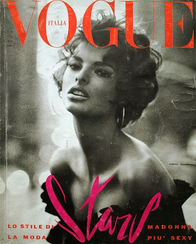 """The June 1990 cover of Vogue Italia... Meisel shot Linda Evangelista evoking Sophia Loren...""  One very classy lady...just as beautiful today."