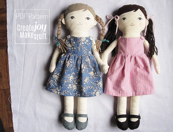 "18"" Doll Sewing Pattern with dress and felt shoes, Tutorial, PDF cloth dress-up doll pattern"