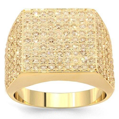 14k Yellow Gold Mens Diamond Pinky Ring 2 31 Ctw Avianne