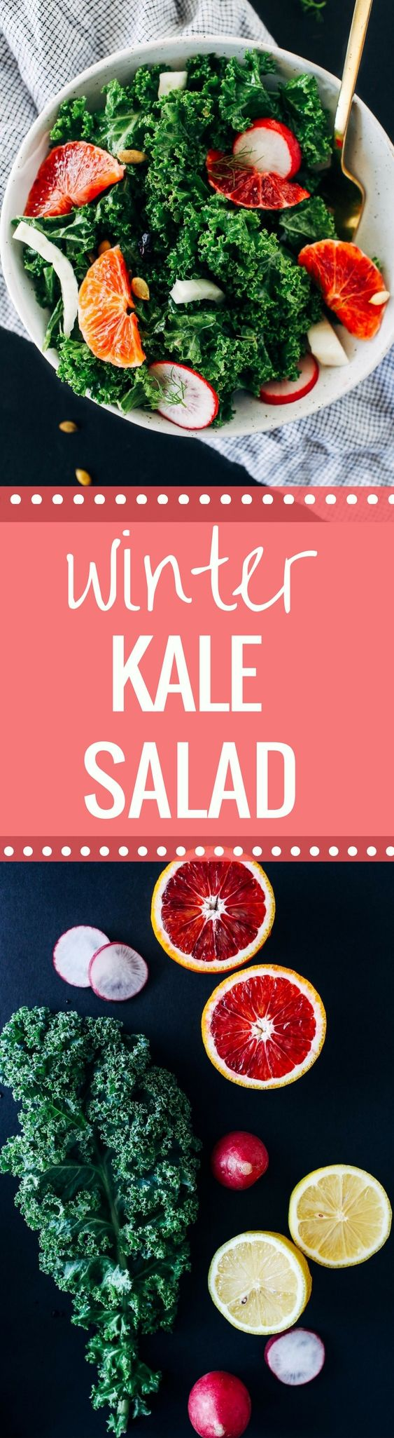Winter Kale Salad with Lemon Dijon Dressing– packed full of fiber and vitamin C to help keep your immune system strong. The kale doesn't get soggy, making it perfect to prep for healthy lunches during the week! (vegan, gluten-free, grain-free and nut-free)
